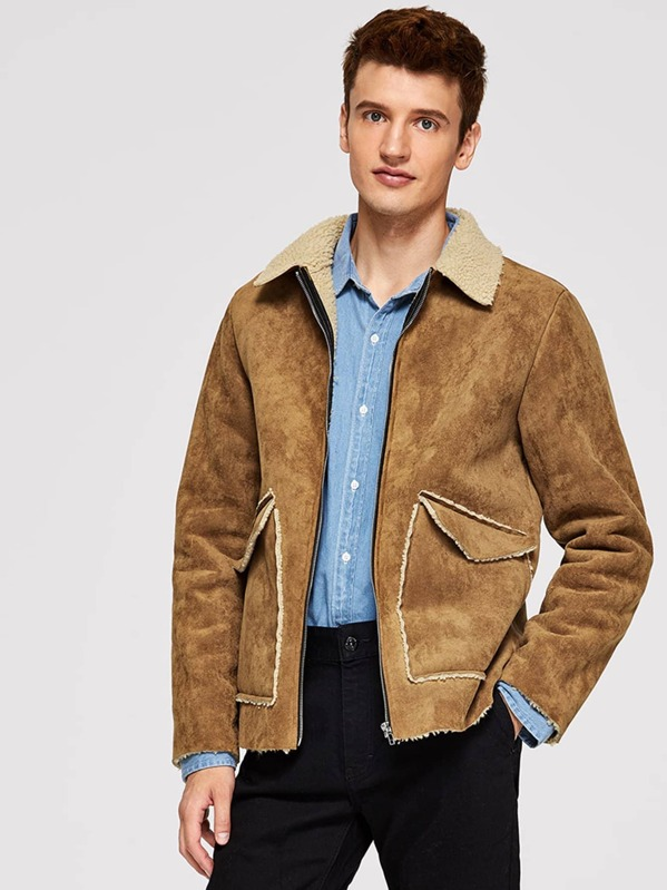 Men Zip Up Faux Shearling Jacket, Oleg