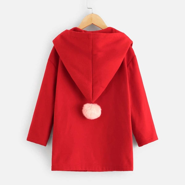 Girls Button Up Hooded Coat With Pom Pom, Red