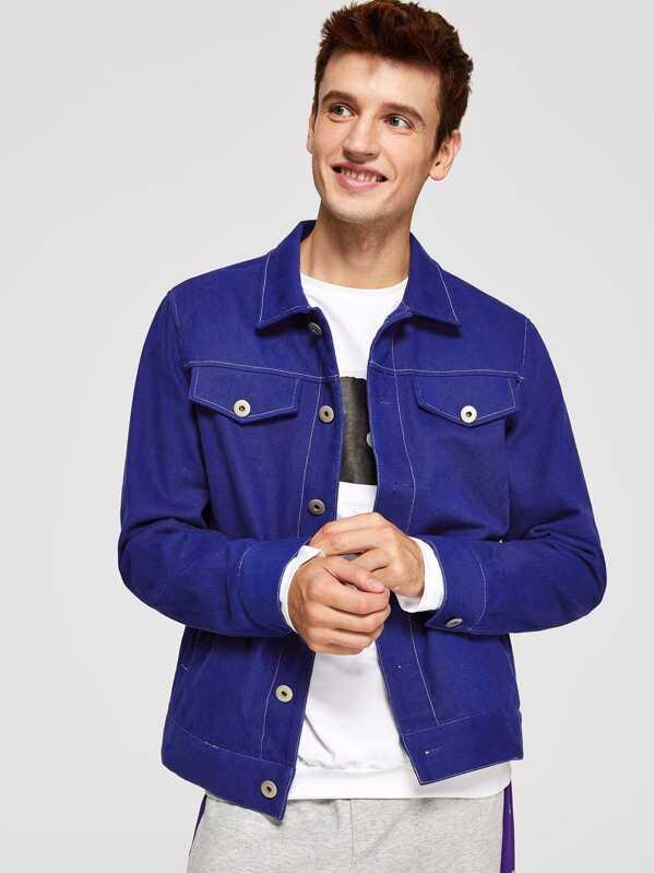 Men Button Up Flap Pocket Jacket, Oleg