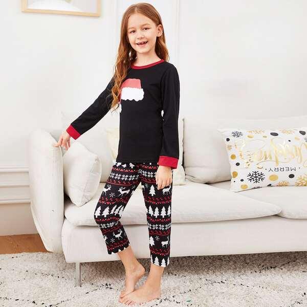Christmas Kids Hat Print Pajama Set