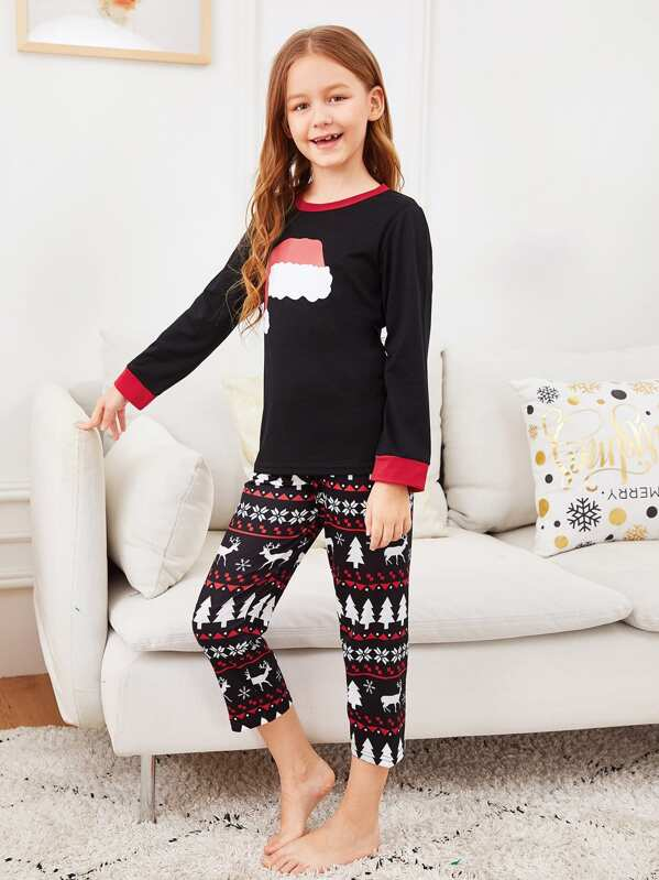 Christmas Kids Hat Print Pajama Set, Sashab