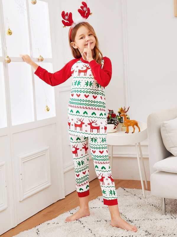 Christmas Kids Deer Print Colorblock Pajama Set, Sashab