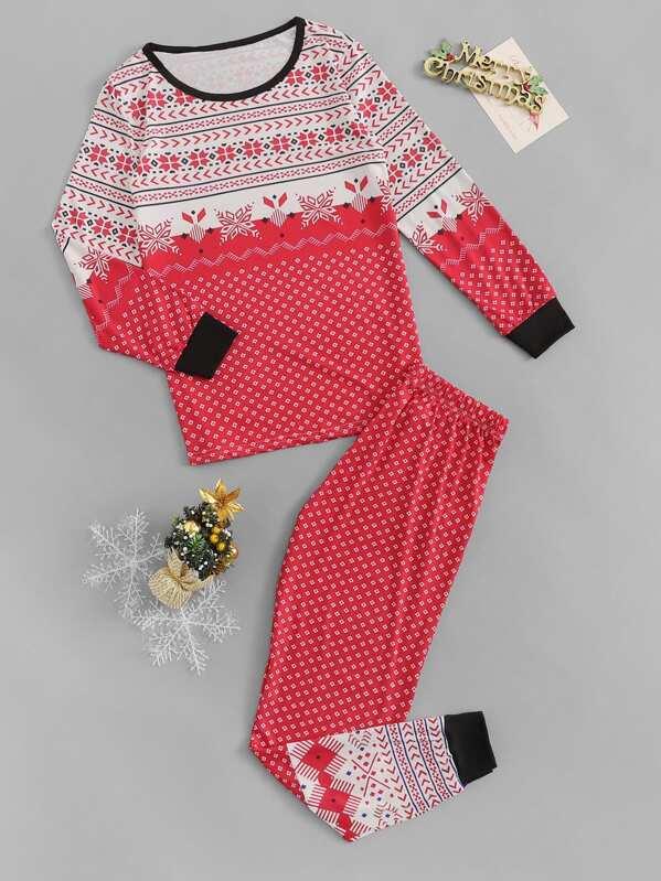 Christmas Geo Print Pajama Set