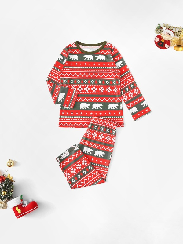 Christmas Kids Bear Print Pajama Set, null