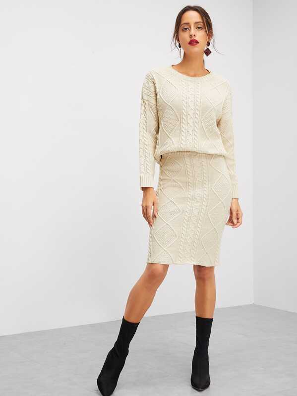 Eyelet Detail Mixed Knit Top & Skirt Set, Mary P.