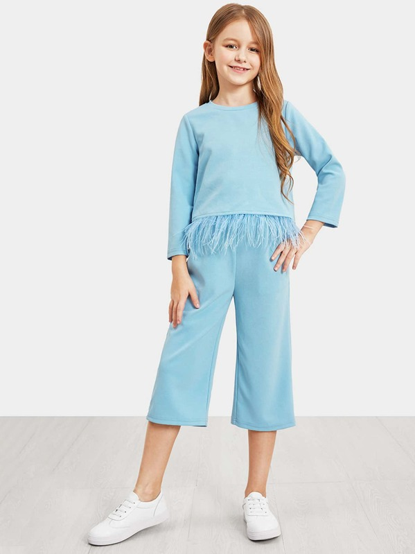 Girls Faux Feather Hem Top and Pants Set