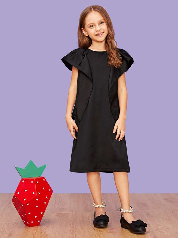 Girls Zip Back Leg-of-mutton Sleeve Dress, Anna C
