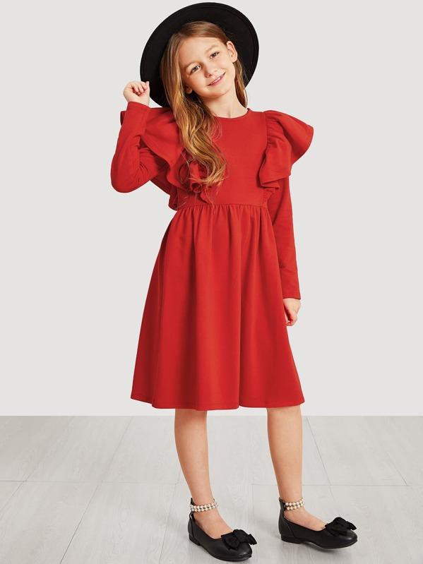 Girls Ruffle Armhole Flare Dress, Sashab