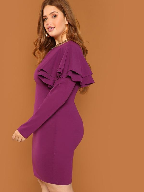 Plus Form Fitting Ruffle Dress, Bree Kish