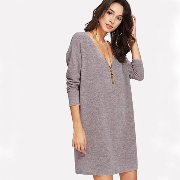 Drop Shoulder Marled Knit Tee Dress