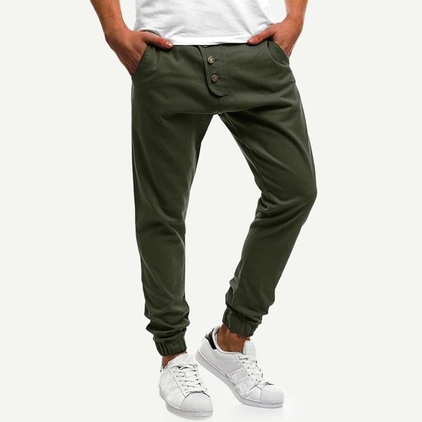 Men Button Decoration Plain Joggers