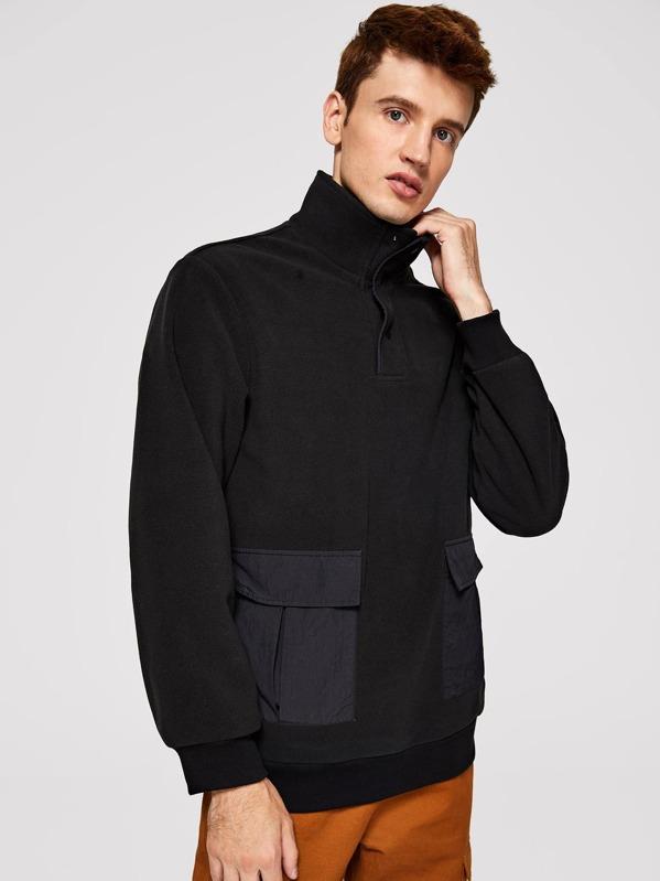 Men Half Placket Flap Pocket Detail Pullover Jacket, Oleg