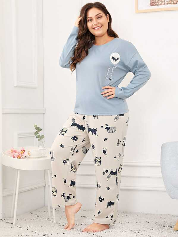 Plus Animal Print Pajama Set, Carol