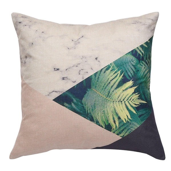 Leaf & Marble Print Cushion Cover 1PC, Multicolor