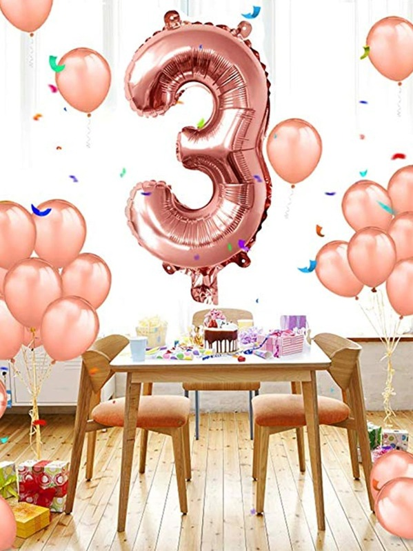 Number 3 Shape 32inches Balloon 1pc, null