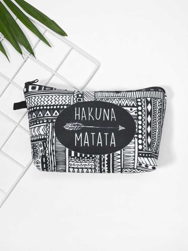 Letter & Geometric Print Makeup Bag
