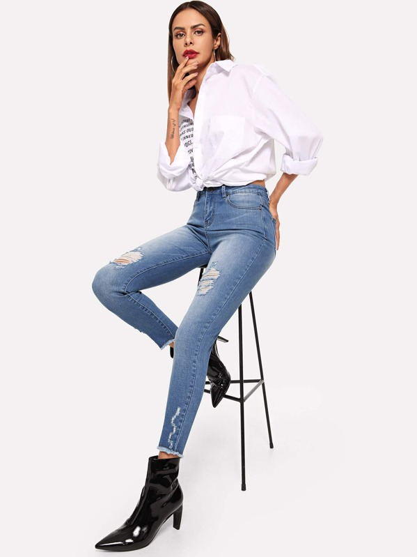 Bleach Wash Ripped Detail Raw Hem Jeans, Andy