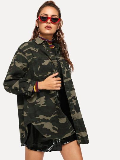 42b5f1190 ملابس خارجية الزر تصميم مموج أخضر عسكري مكتب