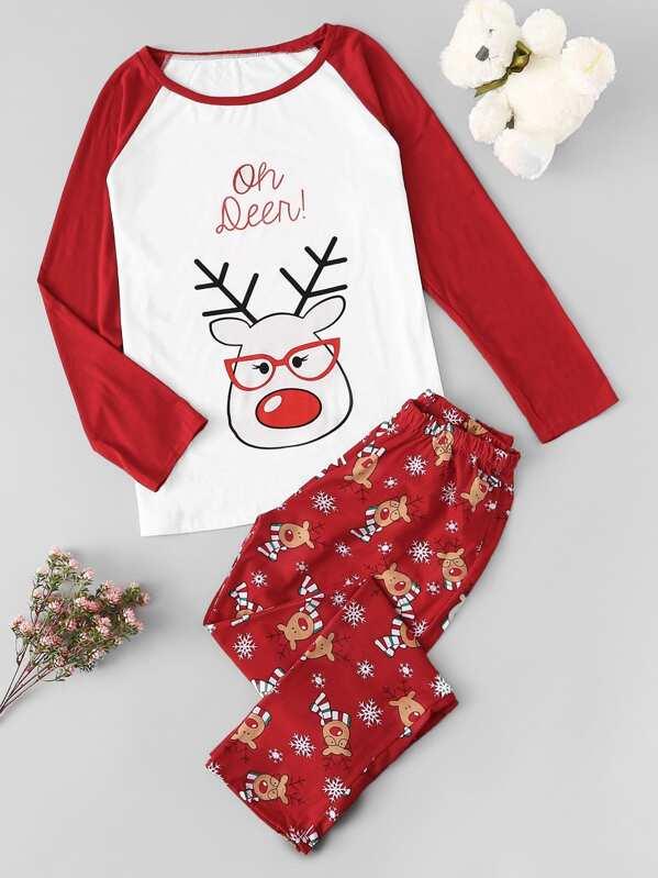 Christmas Deer Print Pajama Set