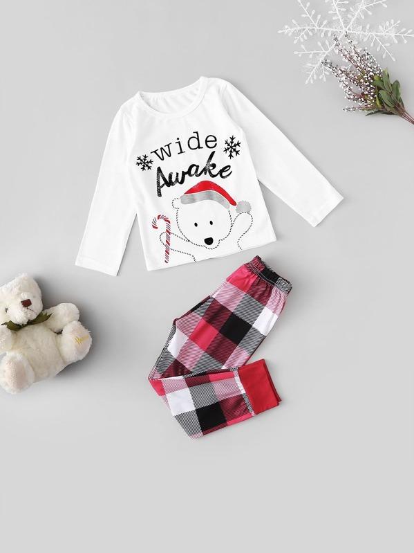 Christmas Kids Bear Print Plaid Pajama Set, null
