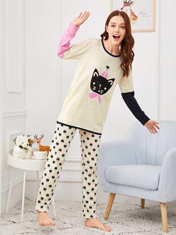 Christmas Cat Print Colorblock Pajama Set