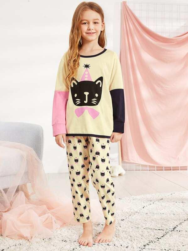 Christmas Kids Cat Print Colorblock Pajama Set, Sashab