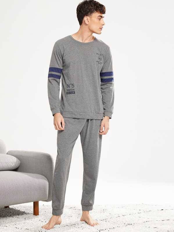 Men Letter Print Contrast Stripe Pajama Set