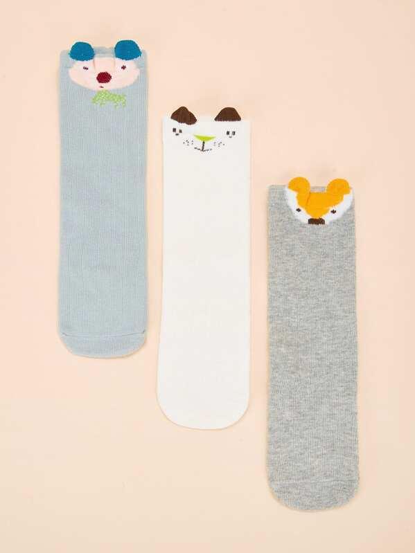 Baby Animal Pattern Knee Length Socks 3pairs, null