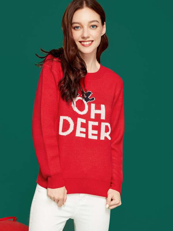 Christmas Lettering Sweater, Poly