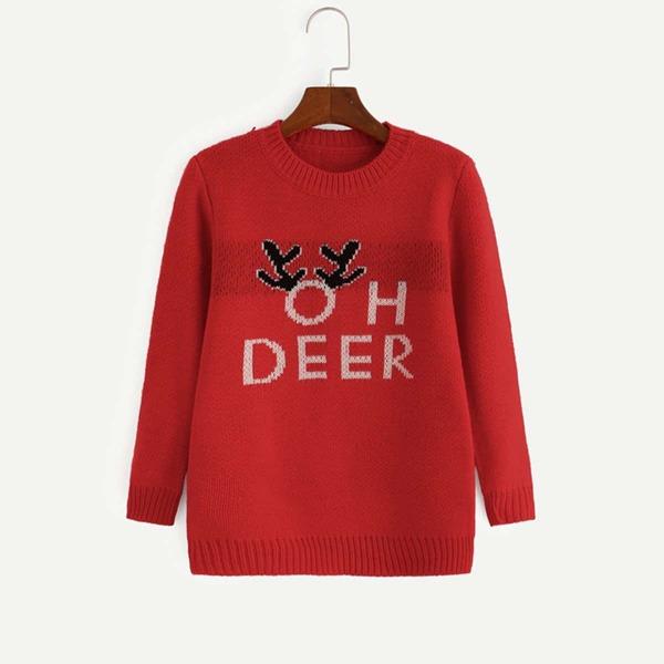 Girls Letter Print Sweater