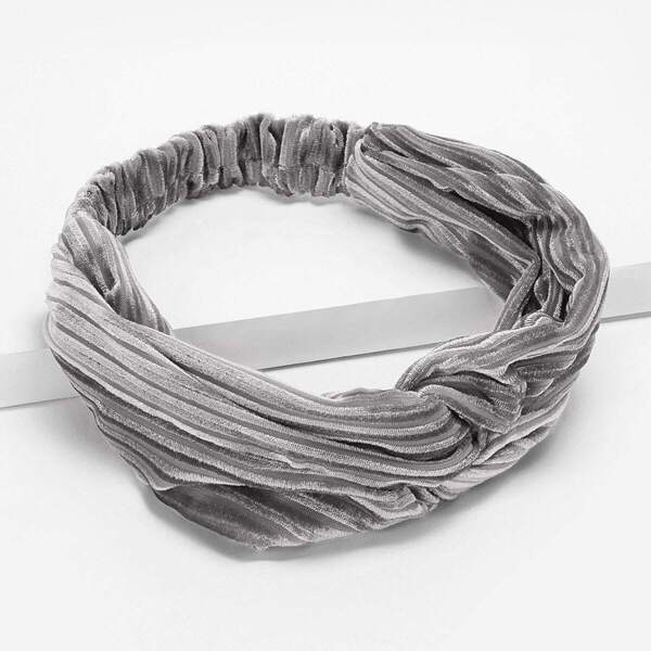Plain Twist Detail Headband, Grey