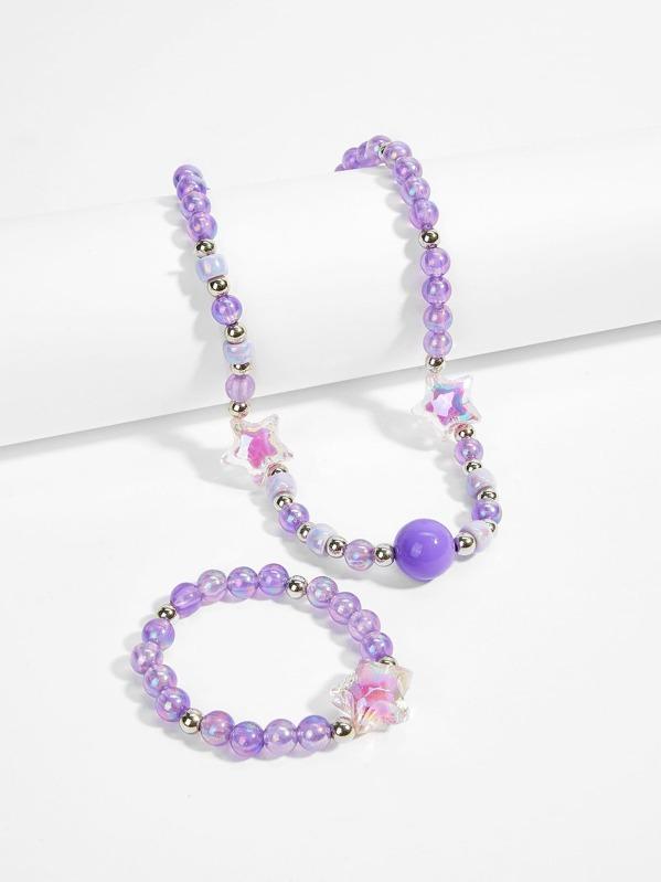 Girls Star Detail Beaded Necklace & Bracelet, null
