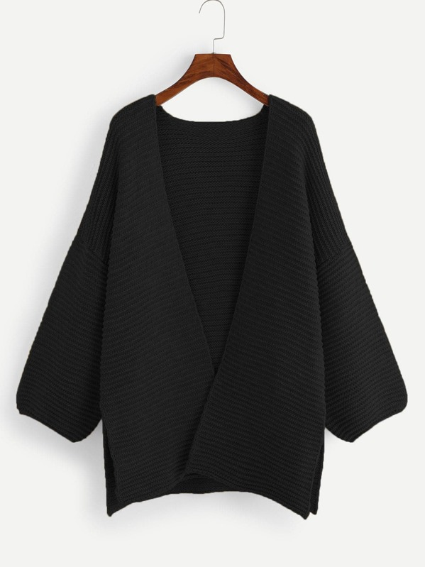 Plus Slit Side Open Front Cardigan, null