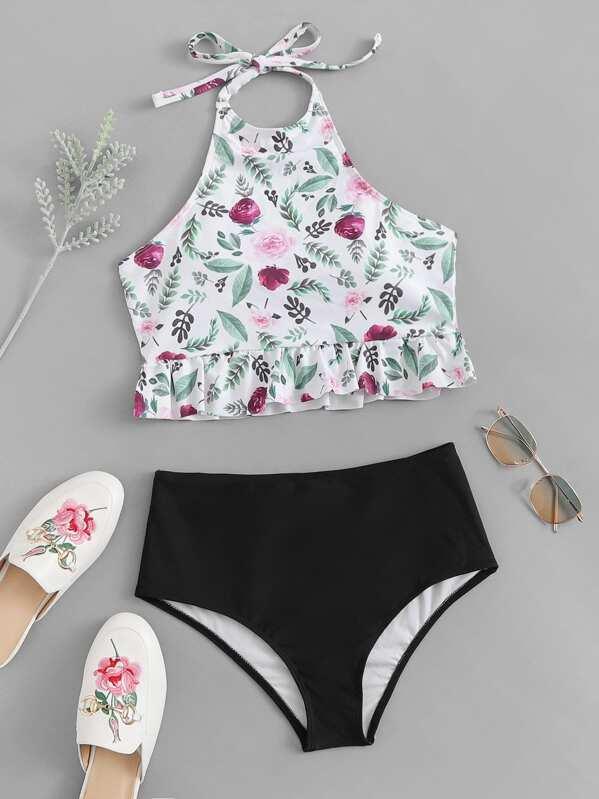 Floral Peplum Top With High Waist Bikini Set