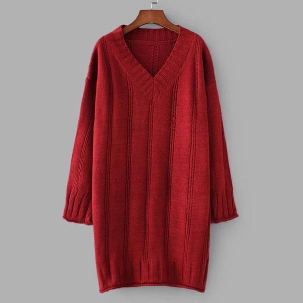 V-Neck Drop Shoulder Solid Sweater Dress