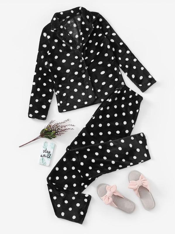 Christmas Polka Dot Plush Pajama Set, null
