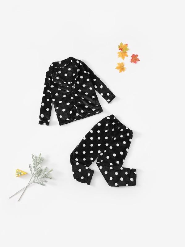 Kids Polka Dot Plush Pajama Set, null