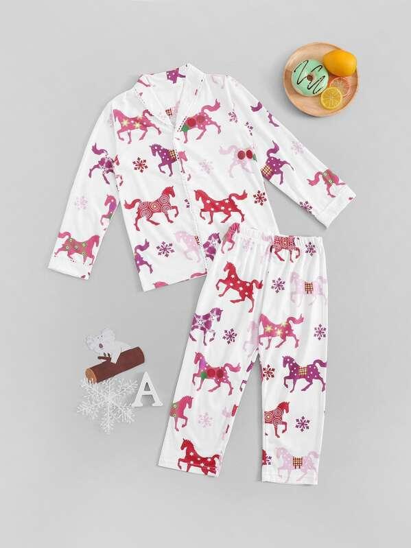 Christmas Toddler Girls Unicorn Print Pajama Set