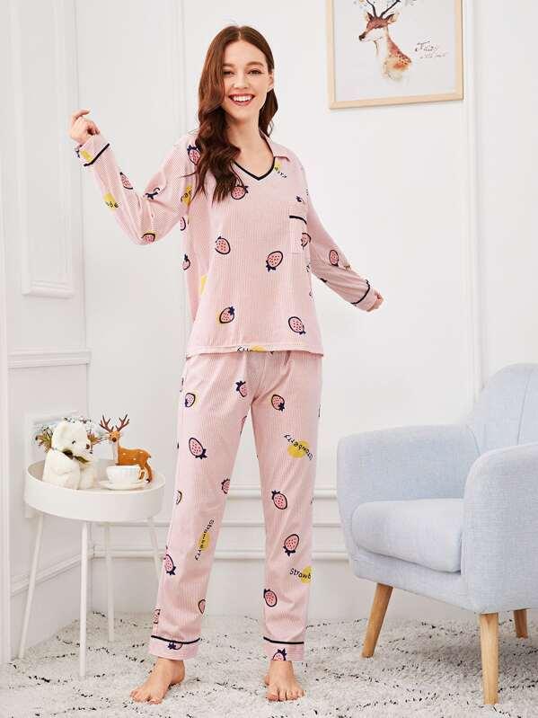 Christmas Strawberry Print Striped Pajama Set