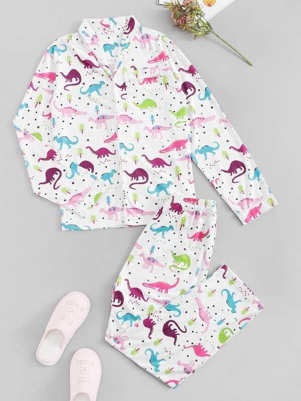 Christmas Dinosaur Print Pajama Set, null
