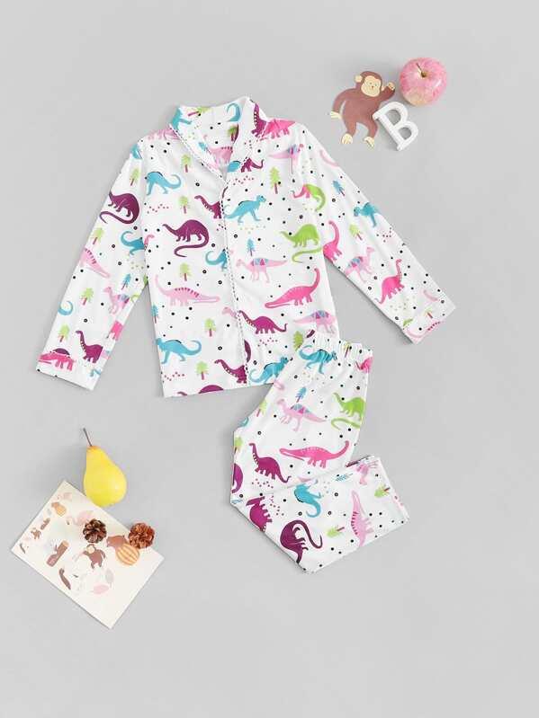 Christmas Toddler Girls Dinosaur Print Pajama Set, null