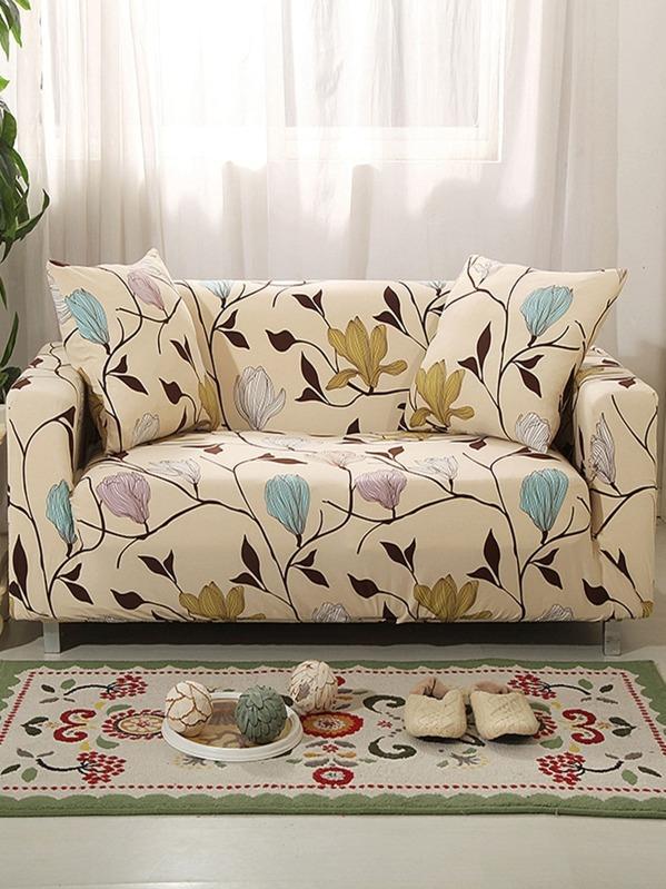 Flower Print Stretchy Sofa Cover & Cushion Cover 1pc