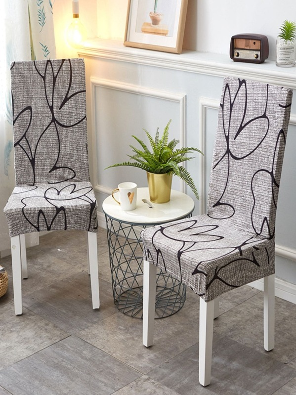 Abstract Flower Print Stretchy Chair Cover 1pc