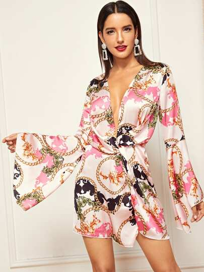 Mixed Print Bell Sleeve Knot Dress