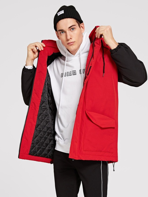 Men Flap Pocket Drawstring Hoodie Coat