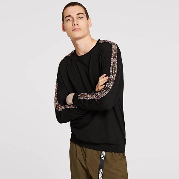 Men Drop Shoulder Geo Sweatshirt