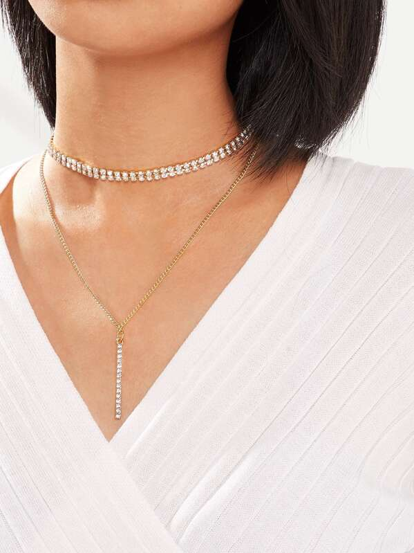 Rhinestone Choker & Bar Pendant Necklace 2pcs, null
