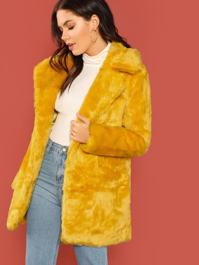 Faux Fur Open Front Side Pocket Coat