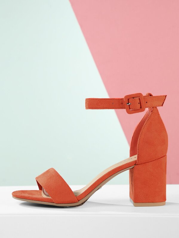 Open Toe Ankle Strap Chunky Heel Sandals, null