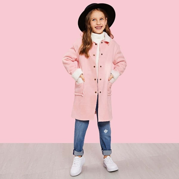 Girls Pocket Front Buttoned Faux Shearling Coat, Pink